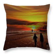 Strolling The Beach At Olon Throw Pillow