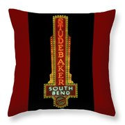 Studebaker Neon Sign Throw Pillow by Susan Rissi Tregoning