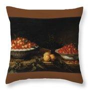 Studio Of Francois Garnier Paris 1600 - 1672 Still Life With A Bowl Of Cherries Throw Pillow