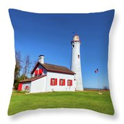 Sturgeon Point Lighthouse 2 Throw Pillow by Fran Riley