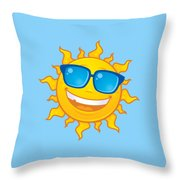 Summer Sun Wearing Sunglasses Throw Pillow