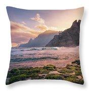 Sun Rising Behind Roque De Los Hermanos Throw Pillow by Dmytro Korol