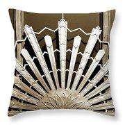 Sunburst Art Deco Sepia Throw Pillow