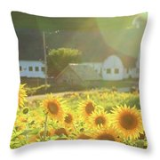 Sunflower Haze Throw Pillow