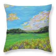 sunflower valley- Sunflower Art-Impressionism painting Throw Pillow