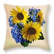 Sunflowers And Hydrangeas Throw Pillow