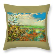Sunflowers On The Edge Throw Pillow