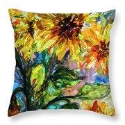 Sunflowers Summer Flowers Mixed Media Throw Pillow
