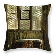 sunlight on linen fold altar in Trinity church York Throw Pillow