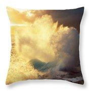Sunlit Wave - Hawaii Throw Pillow by Charmian Vistaunet