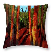 Sunny Forest Landscape Throw Pillow