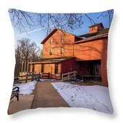 Sunny Winter Day At Bonneyville Mill Throw Pillow