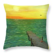Sunrise At The Dock Throw Pillow