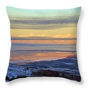 Sunrise View Across Cook Inlet From Above Anchorage Alaska Throw Pillow