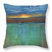 Sunset - Abstract Landscape Painting Throw Pillow