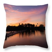 Sunset At Angkor Wat Throw Pillow