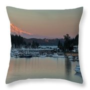 Sunset At Gig Harbor Marina With Mount Rainier In The Background Throw Pillow