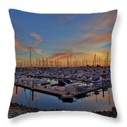 Sunset At Pier 32 Marina In National City, California Throw Pillow by Sam Antonio Photography