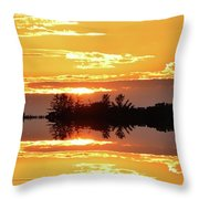 Sunset Behind The Tree Tops Two  Throw Pillow