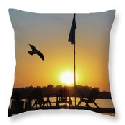 Sunset Dock Flag Silhouette Throw Pillow by Patti Deters