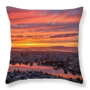 Sunset Explosion Over Lake Merritt Throw Pillow