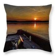 Sunset Fishing Dog Lake Throw Pillow