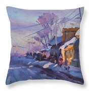 Sunset In A Snowy Street Throw Pillow