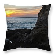 Sunset In Gale Beach. Coast Of Algarve 2 Throw Pillow