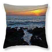 Sunset In Gale Beach. Coast Of Algarve Throw Pillow