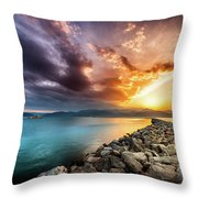 Sunset In Nafplio Throw Pillow