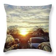 Sunset In Parking Lot 2 Throw Pillow