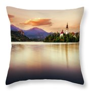 Sunset On Lake Bled Throw Pillow