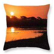 Sunset On The Chobe River Throw Pillow