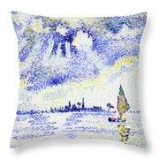 Sunset On The Lagoon, Venice - Digital Remastered Edition Throw Pillow