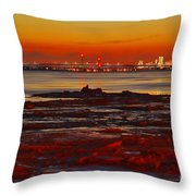 Sunset On The Still Frozen Upper Niagara River Throw Pillow