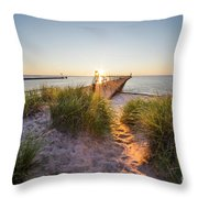 Sunset Over Dunes And Pier Throw Pillow