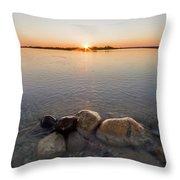 Sunset Over Platte River Throw Pillow