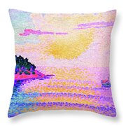 Sunset Over The Sea - Digital Remastered Edition Throw Pillow