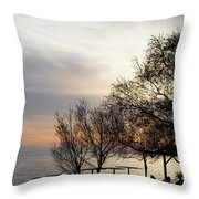 Sunset Scene Of Tree Branches And People Silhouettes Throw Pillow