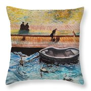 Sunset Scenery By Amsterdam Canal Throw Pillow