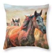 Sunset Wildfire Throw Pillow by Debra and Dave Vanderlaan