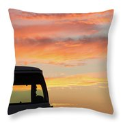 Sunset With The Van Throw Pillow