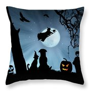 Super Cute Halloween Night With Dog And Cat Throw Pillow