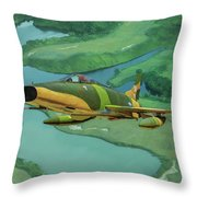 Super Sabres Over Vietnam - Oil Throw Pillow