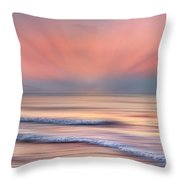 Surf At Sunrise Dreamscape Throw Pillow by Debra and Dave Vanderlaan