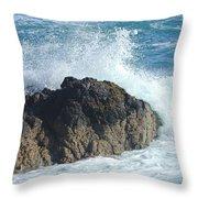 Surf On Rocks Throw Pillow