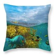 Surf Parrotfish, Damselfish And Basslet Throw Pillow