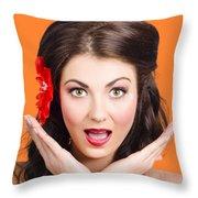 Surprised Vintage Woman Throw Pillow