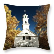 Sutton Meeting House Surrounded By Golden Fall Foliage Throw Pillow by Jeff Folger