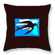 Swallow Flying With Flower In Its Beak Throw Pillow